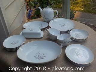 1960's Kaysons Golden Rhapsody Vintage China 4 pc Place Setting with Serving Pieces