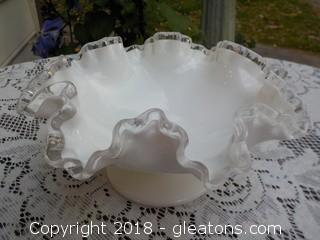 Fenton White Ruffle Bowl