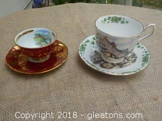 Tirschenreuth Bavaria & Royal Albert 2 Cups with Saucers
