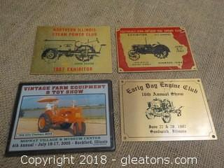 Tractor Show Exhibitor Plaques Badges John Deere Allis Chalmers