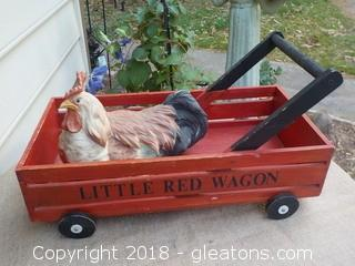Little Red Wagon with Chicken on Board