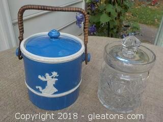 Blue Marked Czechoslovakia Biscuit Jar and Unmarked Glass Biscuit Jar