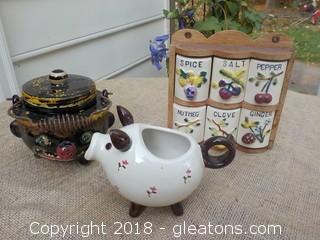 Vintage Spice Rack Set Sugar Bowl Pig Creamer