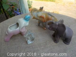 Lot of Vintage Elephant Figurines Planter