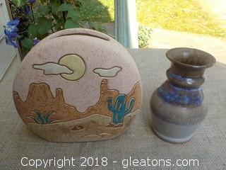 Desert Southwestern Pottery Vase & Signed Pottery Vase