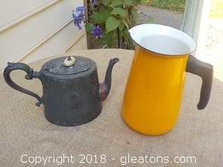 Vintage English Coffee/Tea Pot & Yellow Enamel Pitcher