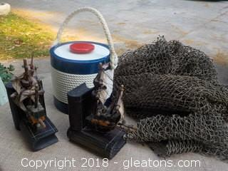 Vintage Nautical Lot Ice Bucket Large Net Ship Bookends
