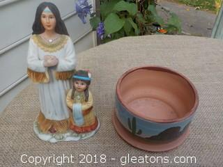 Vintage Native American Home Interiors Figurine  & Hand Painted Clay Flower Pot