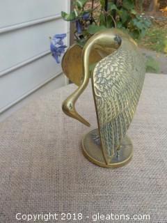 Brass Crane Heron Bird Figure