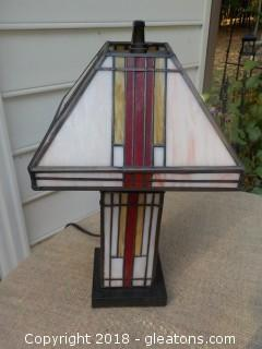 "Beautiful Mission Style Plastic ""Stained Glass"" Look Lamp Works Great"