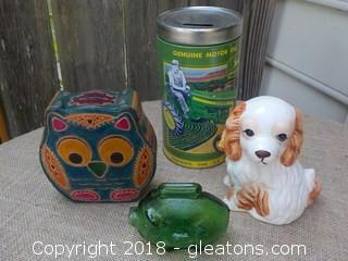 Coin Bank Collection Dog Owl Coca-Cola John Deere