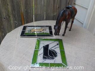 "Leather Horse 2 ""Stained Glass Inspired"" Window Hangings"