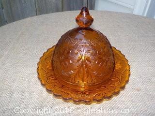 Tiara Amber Glass Butter Dish