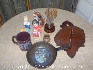 Vintage Smalls Wood Shelf Figurines Hershey Mug Lot
