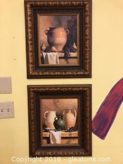 Pair Framed Prints Earth Ware
