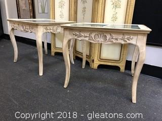 Pair Antiqued Side Tables