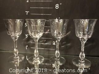 """Crystal Small Wine (4) Duncan Miller """"Chantilly"""" 1940's Made in P.A."""