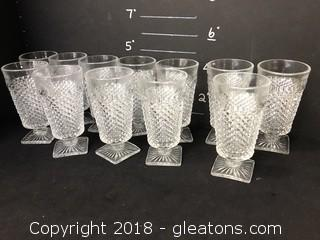 12 Cut Glass Footed Juice