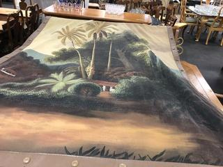 Large Tapestry Hand Painted Very Nice