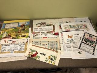 Vintage Linen Calendars 80's + 90's