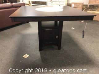 Counter Height Dining Table with Storage Pedestal Base (New with Warranty)