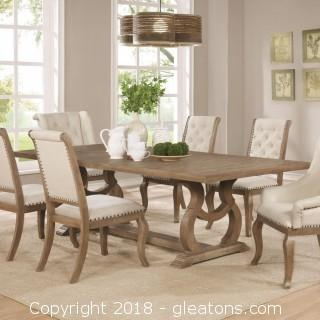 Beautiful Light Ash Wood Dining Table with Trestle - (New with Warranty)