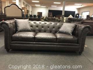 Premium Leather Tufted Sofa - (New with Warranty)