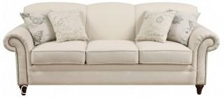 Beautiful French White Sofa with Nailhead Trim (New with Warranty)