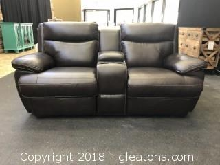 Premium Leather Double Theater Seating Recliner With Storage & Cup Holders (New with Warranty)