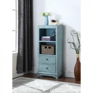 New Rustic Blue Accent Cabinet with Woven Basket