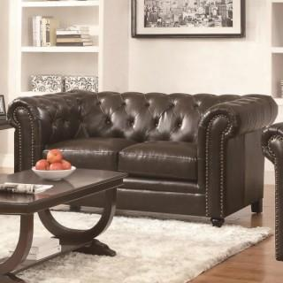 Premium Leather Matching Tufted LoveSeat (New with Warranty)