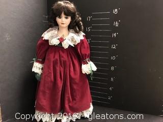 """18"""" Doll Maroon Velvet Dress"""
