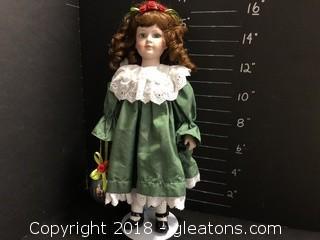 "16"" Doll 1990 Christmas Green Dress"
