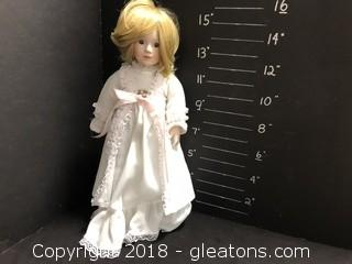 """16"""" Porcelain doll, White Gown"""