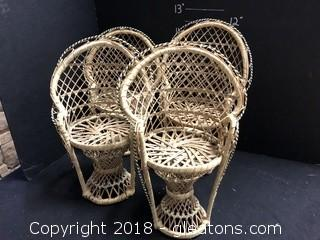 Four Straw Doll Chairs