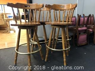 Set Of Four Spindle Back, Rotating Barstools