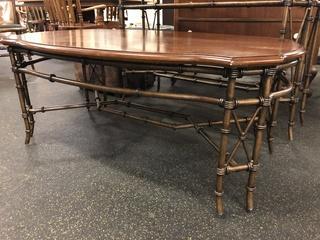 Coffee Table Bamboo Metal Bottom