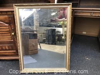 Large Antique Wood Framed Mirror W/