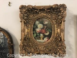 Original Still Life (A) Heavily Ornate Frame Wood And Gold Molding