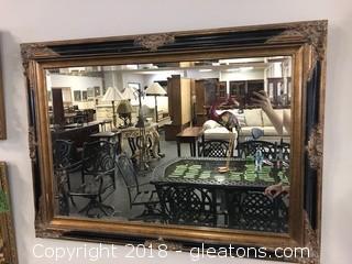 Vintage Decorative Black Gold Beveled Framed Mirror, French