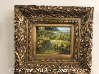 Original Landscape Heavily Ornate Gold Wood Frame