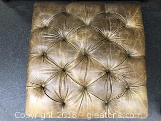 Tufted Leather Ottoman Light Brown