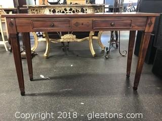 Unique In Laid Wood Hand Carved Foyer Table