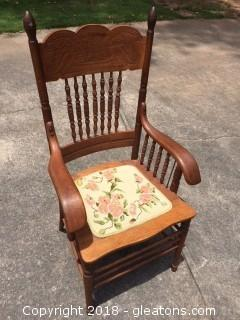 Vintage Oak Chair with Needlepoint Seat