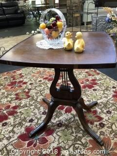 Vintage Wooden Side Table (small) with Violin Base