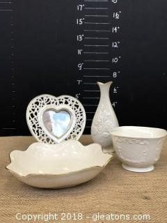 Lot A:4 pieces of beautiful Lenox china Decor ware