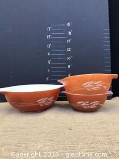 Vintage Pyrex Mixing Bowls-Harvest Wheat Pattern