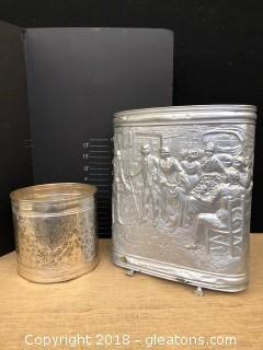 Vintage Aluminum Umbrella or Ash Can; 2nd metal can