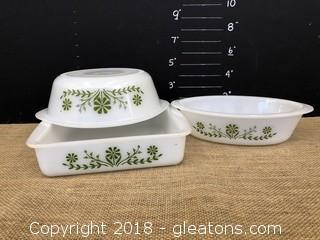 Lot of 3 Vintage Glassbake Casserole Dishes