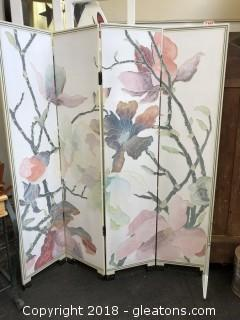 Beautiful Floral Room Divider:  Wooden, 4-panels
